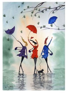 Dealer or Reseller Listed Watercolour Art Paintings Umbrella Art, Painting People, Whimsical Art, Painting Inspiration, Art Images, Painting & Drawing, Watercolor Paintings, Modern Art, Art Drawings