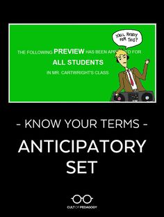 With a well-crafted, well-executed anticipatory set, instruction becomes an art. #CultofPedagogy Cult Of Pedagogy, History Classroom, Content Area, Google Classroom, Learn To Read, Professional Development, Student Learning, Knowing You, Literacy
