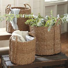 3 Piece Natural Palm Braided Basket Set