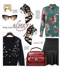 """""""Sammydress.com: Keep your dreams alive always!"""" by hamaly ❤ liked on Polyvore featuring Gucci, ootd, skirts, cardigan, bags and sammydress"""