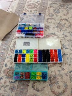 All of my rainbow loom rubber bands and storage cases