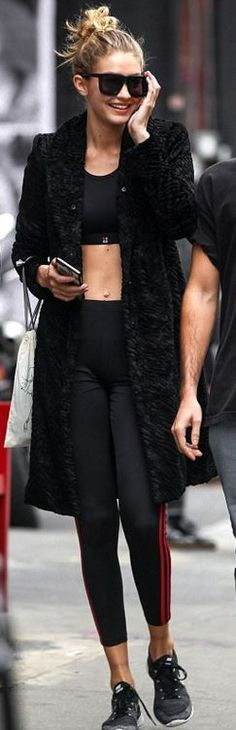 Gigi Hadid: Shirt – Sweaty Betty  Pants – Adidas  Sunglasses – Karen Walker  Shoes – Nike