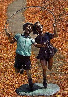 Children Jumping Rope Bronze Statue
