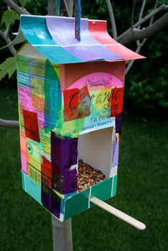 Colorful milk carton bird feeder - clever diy for kids.