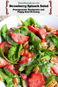 Strawberry Spinach Salad. Easy, delicious, healthy. This is what you make when you want your family to eat vegetables! BlessedBeyondCrazy