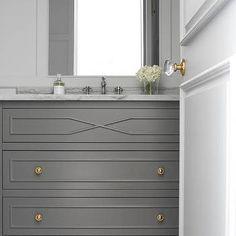 Dark Gray Washstand with Gold Knobs