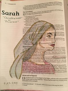 Sarah Genesis 12 Bibel Journaling - New Ideas Bible Journaling For Beginners, Bible Study Journal, Art Journaling, Bible Drawing, Bible Doodling, My Bible, Bible Art, Bible Mapping, Illustrated Faith