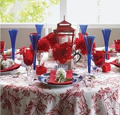 Colourful table set-up. Whether you feel blue, or red or just inspired...