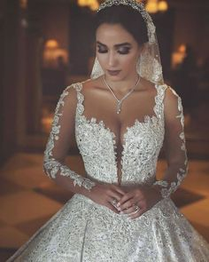 Long Sleeves Arabic Wedding Dresses With Long Train Robe De Mariee Sexy Sheer Neck Lace Appliqued Beaded Wedding Gowns Arabic Wedding Dresses, Beaded Wedding Gowns, Arab Wedding, Dream Wedding Dresses, Bridal Dresses, Lebanese Wedding Dress, Expensive Wedding Dress, Wedding Bride, Church Wedding