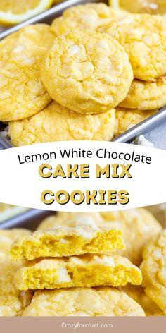Lemon Cake Mix Cookies, Chocolate Cake Mix Cookies, White Chocolate Cake, Lemon Cake Mixes, Lemon Desserts, Lemon Recipes, Easy Sweets, Easy Cookie Recipes, Pie Dessert