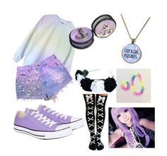 """""""Purple pastel goth"""" by dragongirl26 ❤ liked on Polyvore featuring Converse"""
