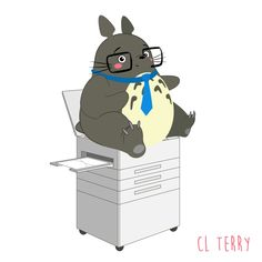 Day 68.  Totoro needs to work on his office etiquette.