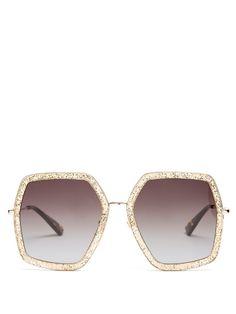 fef528cfc6 Gucci Oversized hexagon-frame sunglasses Hexagon Sunglasses