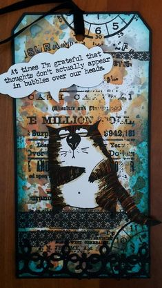 Tim Holtz Stamps, Stampers Anonymous, Handmade Tags, Cat Cards, Crazy Cats, Homemade Cards, Cardmaking, Wrapping, Card Ideas