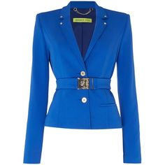 Versace Jeans Short belted blazer ($450) ❤ liked on Polyvore featuring outerwear, jackets, blazers, blue, women, versace jacket, short-sleeve blazers, short blazer jacket, blue blazers and short-sleeve jackets