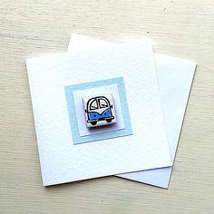 Campervan Card Blue, Combi, Splitscreen, VW, Birthday Card, Greeting Card, Blank Card, Magnet Card, Boys Card Cellophane Wrap, Uk Shop, Blank Cards, Girl Gifts, Birthday Cards, Greeting Cards, Handmade Gifts, Etsy, Bday Cards