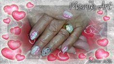 #nail #nailart #gelnail #design #pink #white #heart #sweet #valentinday