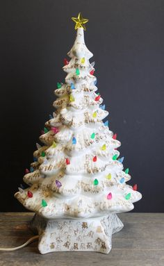 1960s White and Gold Lighted Ceramic Christmas Tree // Multi Colored Lights // 19 Inches