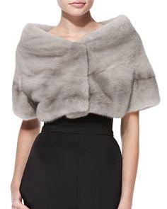 Mink Fur Wrap, Size: L, Gray - Monique Lhuillier Fur Wrap, Stylish Coat, Check Coat, Crochet Girls, Mink Fur, Monique Lhuillier, Girl Fashion, Fashion Design, Fur Jacket