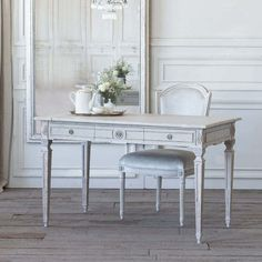 Eloquence® Herra Writing Desk in Gustavian Grey finish. This piece shows off classic lines adorned with delicate carvings, all finished a soft neutral tone that will compliment any living space. Lovingly worn at the edges and featuring 2 spacious drawers. Decor, Rustic Writing Desk, Gustavian, Home Decor, Swedish Furniture, Sleek Desk, French Country Desk, French Country Style Decorating, Grey Desk