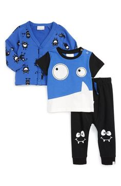 Rosie Pope 'Monster' T-Shirt, Cardigan & Pants Set (Baby Boys) available at…