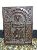 Early 17th Century English Antique Oak Carved Panel Depicting a Woman and a Dove, Circa 1600