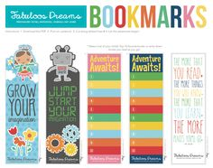 Encourage summer reading with these awesome bookmark freebies from Fabuloos Dreams! Print out extras for kids to give to their friends too! UPDATE: These bookmarks are no longer available on the Fabuloos website, but you can find them HERE. Free Printable Bookmarks, Bookmark Template, Printable Crafts, Free Printables, Reading Bookmarks, Paper Bookmarks, Bookmarks Kids, Learn To Read English, Reading Projects