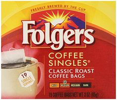 Folgers Classic Medium Roast Coffee Singles Serve Bags 19 Count Pack of 6 ** Read more at the image link. Folgers Coffee, Decaf Coffee, Coffee Bags, Homemade Gift Baskets, Homemade Gifts, Low Acid Coffee, Making Cold Brew Coffee, Single Serve Coffee, Coffee Health Benefits