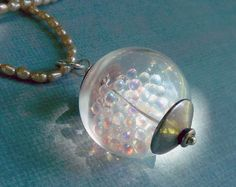 Will o' the Wisp Wonder Globe Necklace with Iridescent Glass Micro Beads Sterling Silver