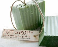 Peppermint and Eucalyptus Soap on a Rope - All Natural Hemp Soap