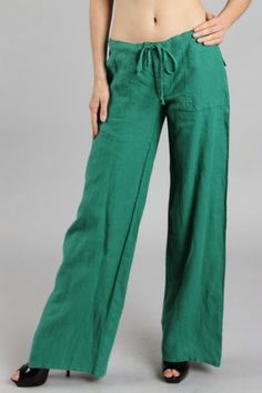 New green linen pants - see our matching top.  Only at bvenboutique