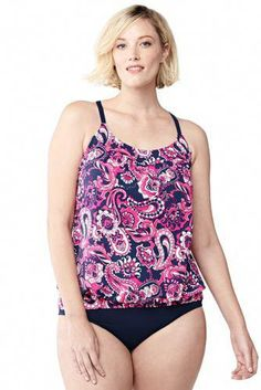a7f20284653af Try our Women's Plus Size Beach Living Blouson Tankini Swimsuit Top at  Lands' End.