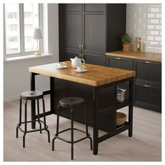 Natural Wood Top Kitchen Cart Island In Black With Saddle