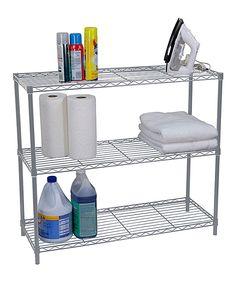 Silver Three-Tier Wire Shelf