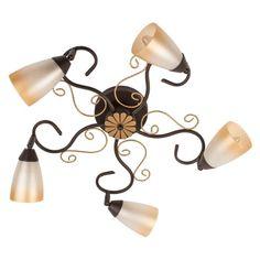 Lampadario da soffitto fiore decorativo metallo colore marrone ed oro paralume vetro opaco Ø68cm 5-bulb exl, E14 5x40W 230V EURO 84,71