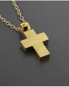 Σταυρός χρυσός Κ14 Dog Tags, Dog Tag Necklace, Crosses, Jewelry, Jewlery, Jewerly, Schmuck, Jewels, Jewelery