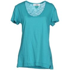 Fourminds T-shirt ($27) ❤ liked on Polyvore featuring tops, t-shirts, shirts, turquoise, blue v neck shirt, v-neck tops, vneck t shirts, blue v neck t shirt and vneck shirts
