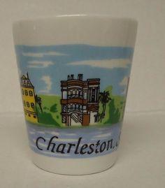 Shot Glass Charleston S.C. white glass
