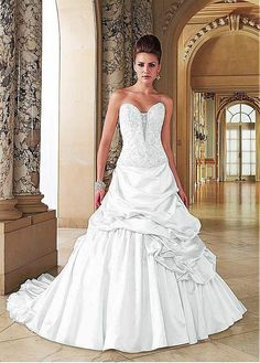 ALLURING SATIN SWEETHEART NECKLINE DROPPED WAISTLINE A-LINE WEDDING DRESS SEXY LADY LACE FORMAL PROM BRIDESSMAID GOWN