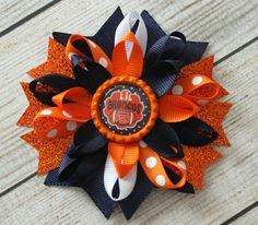 Denver Broncos Hairbow- Broncos Boutique Hairbow, Denver Broncos Pigtail Bows, Denver Broncos Headband, Denver Broncos Hair Clip by MaddieHatterBowtique on Etsy