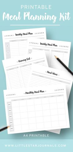Do you find it time consuming trying to find inspiration for family meals and to plan them around a busy schedule? The printable Family Meal Planner kit helps you plan ahead and keep track of recipes and meal ideas. The kit includes a grocery list, meal i Family Meal Planner, Monthly Meal Planner, Printable Planner Pages, Family Meals, Printables, Cleaning Checklist Printable, Meals For The Week, Adulting, Planer