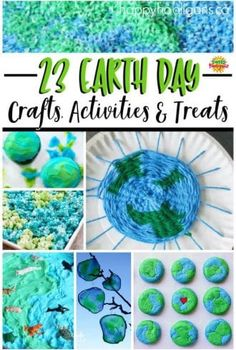 Earth 23 Earth Day crafts treats and activities - Happy Hooligans - 23 Earth Day crafts, treats and activities for kids. So many fun ways to celebrate and observe Earth Day at home or in the classroom! Earth Day Activities, Spring Activities, Craft Activities, Preschool Crafts, Exercise Activities, Earth Day Games, Nursery Activities, Motor Activities, Therapy Activities
