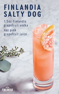 The Salty Dog is a flavorful cocktail that's perfect for enjoying near the beach on a warm spring day. Made with Finlandia Grapefruit Vodka, this sweet drink is garnished with a slice of grapefruit. Click here to see more delicious cocktail recipes.