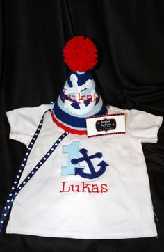 Stylish Birthday Party Hat and Shirt Combo Set Preppy- Nautical - Sailor -Anchor- Navy- Party theme- Customized with NAME.