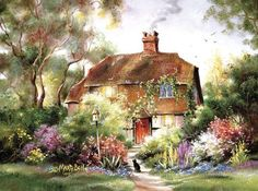 Artist, Paul C. Dennis, painter of realism, selling originals and quality limited editions. Storybook Cottage, Old Cottage, Cottage In The Woods, Watercolor Flowers, Watercolor Paintings, Belle Image Nature, Bell Art, Creation Photo, Images Vintage