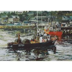 Coming Home to Killybegs - Limited edition print from a painting of boats at Killybegs Pier, Co.Donegal by artist Stephen Bennett - limited to a run of 250 prints each signed and numbered by the artist. Irish Cottage, Old Cottage, Old Water Pumps, Wild Atlantic Way, Irish Art, Old Farm Houses, Irish Traditions, Donegal, Farm Yard