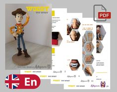 WOODY Crochet Amigurumi Pattern English | Etsy Half Double Crochet, Single Crochet, Crochet Patterns Amigurumi, Crochet Hooks, Woody, Toy Story Movie, Red Felt, Yarn Needle, Stitch Markers