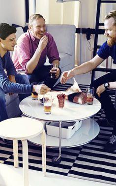 STRIND table d'appoint sur roulettes et FROSTA tabouret