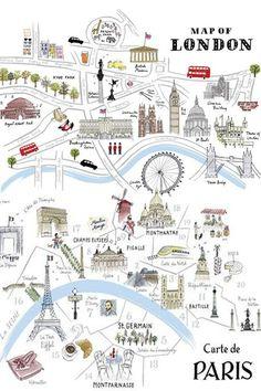 Map of London & Carte de Paris