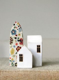 Limited Edition - Folk Town  This set of three miniature wood houses has a fun folksy flair.